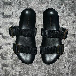 Stuart Weitzman Black Leather Shalene Sandals